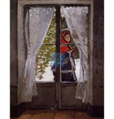 모네 명화그림 - 빨간스카프를두른모네부인의초상(캔버스화)