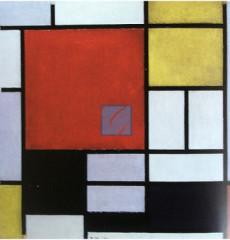몬드리안 명화 그림-large red plane, yellow의 구성(캔버스화)